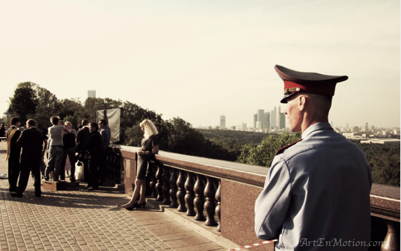 Shooting Scene Summer afternoon Sparrow Hills Moscow